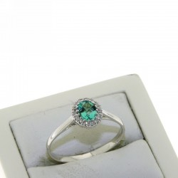 Ring with treated emerald and diamonds OX48S05