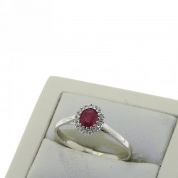 Ring with treated ruby and diamonds OX48R05