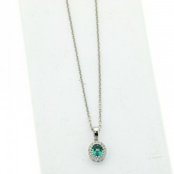 Necklace with treated emerald AND DIAMONDS OX49S05