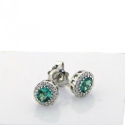Earrings with emeralds treated AND DIAMONDS OX49S10