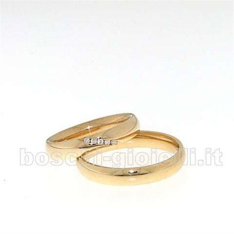 Fedina bosfed01g comoda oro giallo 4mm diamanti