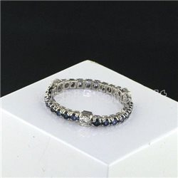 OUR CREATIONS eternelle ring blue sapphires and diamonds bosmont1056et