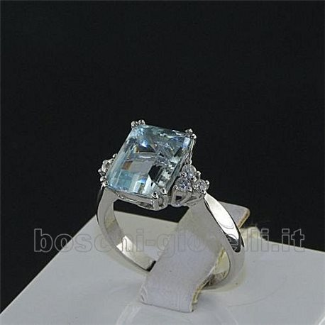 OUR CREATIONS ring aquamarine gemstones with diamonds