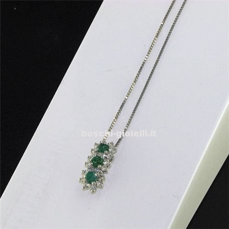 OUR CREATIONS chain with trilogy pendent emeralds bosmont4842-cio-sm
