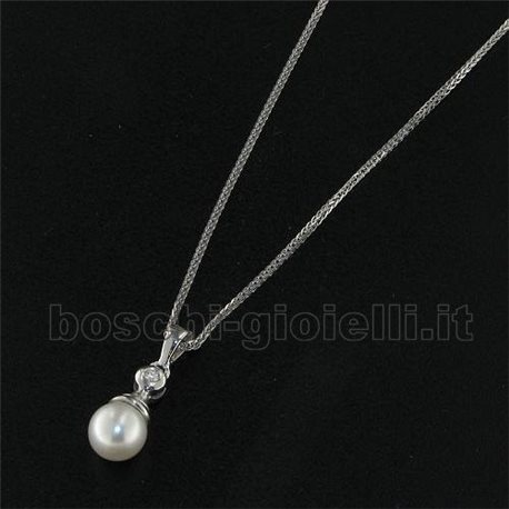 OUR CREATIONS chain with pendent pearl diamond bosmont4923