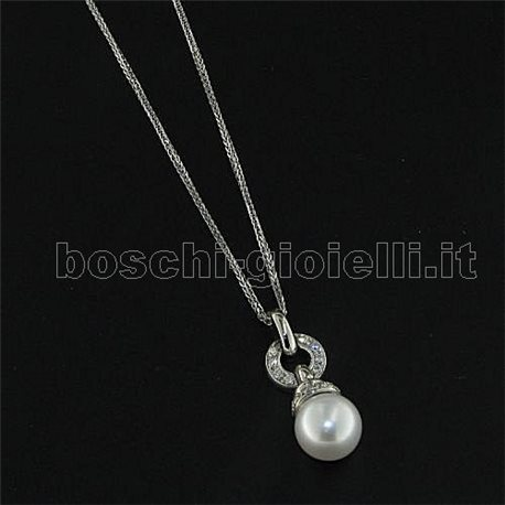 OUR CREATIONS chain with pendent australian pearl gold diamonds