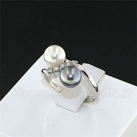 OUR CREATIONS ring pearls collection br008h with diamonds