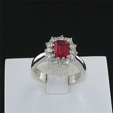 OUR CREATIONS ring ruby gemstones with diamonds br078h