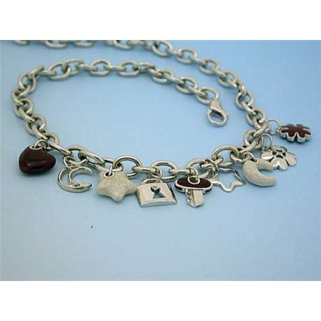 IMVIDIA co1801 silver necklace with charms silver enamel